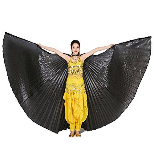 Dreamworldeu Bauchtanz Wings Flügel Schleier Bauchtanz Belly Dance Kostüm Fasching Karneval mit keinen Metallstäben Schwarz (Schwarz Bauchtänzerin Kostüme)
