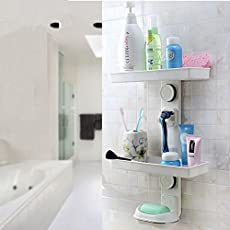 Lxoice Strong Suction Wall Mount Bathroom Racks And Shelves With Soap Holder,Razor Holder Etc