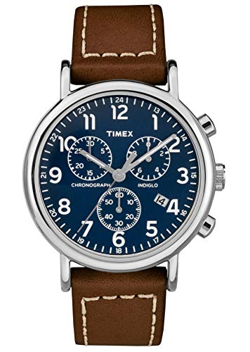 Timex Orologio Cronografo Quarzo Unisex Adulto con Cinturino in Pelle TW2R42600