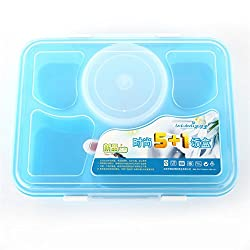 Generic 1 set 2016 Hot Sale Portable Microwave Bento Lunch Box for Kids 5+1 Food Container Storage plastic carrying Food Box Lunchbox- Blue
