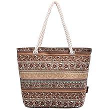 Douguyan Canvas Fashion Bunt Freizeit Schultertasche Handtasche Groß Strandtasche Damen Tote Tasche Frauen Mädchen Einkaufstasche E00252