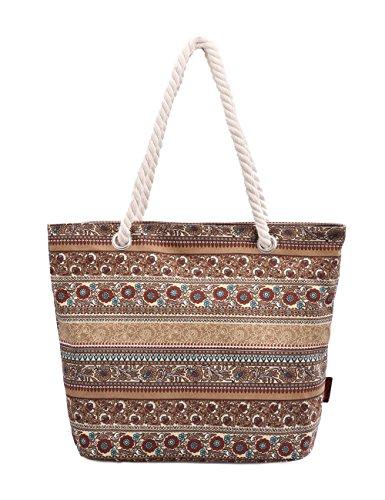 Douguyan Canvas Fashion Bunt Freizeit Schultertasche Handtasche Groß Strandtasche