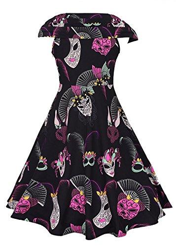 Le donne annata 1950 della stampa floreale Party Dress scollo a V abito da cocktail swing Cap Sleeve - Maschera Blu Stampa
