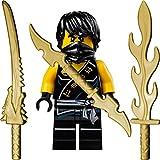 LEGO Ninjago: Minifigur Cole (schwarzer Ninja) mit 3 GALAXYARMS Schwertern