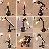 LIGHT BYJUM Metall Schreibtischlampen Antiken Edison Eisen Basis Wasser Rohr Tischlampe E27 110-240V,C
