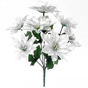 3x 30cm artificial metálico plata flor de Pascua Bush–7cabezas cada–Navidad