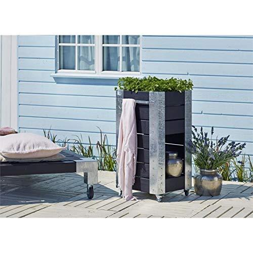 PLUS DK Blumenkasten Cubic mit Regal 46x95x50cm, schwarz – druckimprägniertes KDI Holz – mit Regalfläche – der Blickfang im Garten