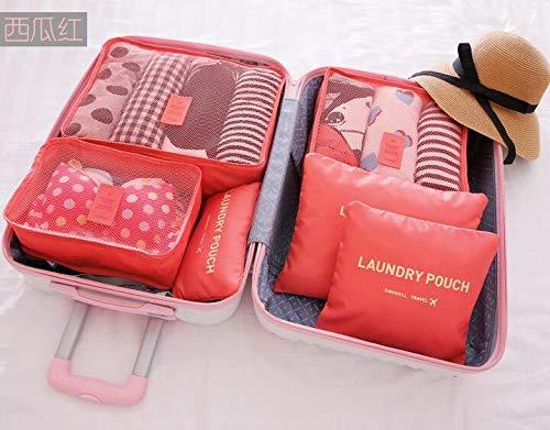 Reise wasserdichte Aufbewahrungstasche Set Reise Reise wesentliche Gepäck Kleidung Unterwäsche Finishing Bag 6 sechs Sätze von Wassermelone rot -