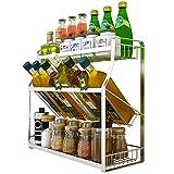 Yxx max Regal küche Küchenregal 304 Edelstahl Multifunktionale 3 Schichten Tilting Spice Rack Geschirr Aufbewahrungsmaterial Rack (größe : 35cm)