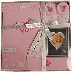 Set de regalo para niño o niña de bebé, body, patucos, gorro y álbum de fotos/marco por Kris X Kids New Pink
