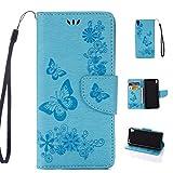 Sony Xperia E5 Handyhülle Book Case Sony Xperia E5 Hülle Klapphülle Tasche im Retro Wallet Design mit Praktischer Aufstellfunktion - Etui Blau