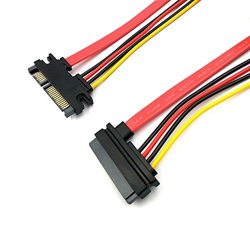 duttek SATA Verlängerungskabel, 50,8cm (50cm) 22pin (7+ 15) SATA Männlich Zu Weiblich Daten und Strom Combo silmline Verlängerungskabel Verlängerung Kabel M/F (Kabel Verlängerung Pin M/f)