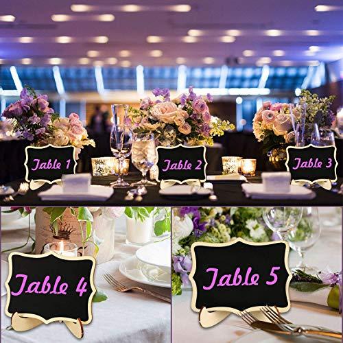 Mini lavagna, RATEL 20 Pack Piccola lavagna in legno,Schede rettangolari per piccoli spazi con cavalletto,Cartelli segnaposto decorativi per segnaposti per matrimoni, feste, buffet, numero di tavolo