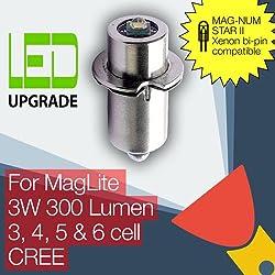 MagLite compatible MAG NUM-STAR II bi-pin Ampoule LED Conversion et pour lampe de poche MagLite Lampe torche à 6 piles D/C Lampe torche CREE