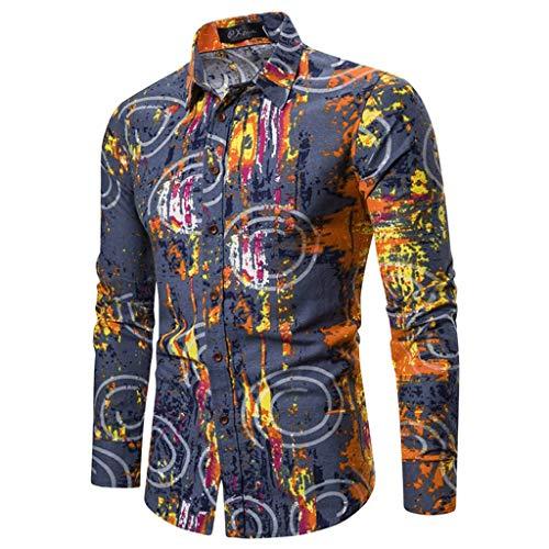 Notdark Herren Hemd Männer Gedruckt Hemd Beiläufig Valentinstag Shirt Streetwear Mode Shirt Bluse (M,Blau)