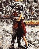YEESAM ART Neuheiten Malen nach Zahlen Erwachsene Kinder, Romantische Umarmung im Regen 40x50 cm Leinen Segeltuch, DIY ölgemälde Weihnachten Geschenke