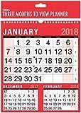2018 Three Month To View Spiral Bound Wall Planner Calendar - home office work