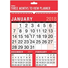 2018 Tres meses para ver el calendario de planificador de pared encuadernado en espiral - trabajo de oficina en casa