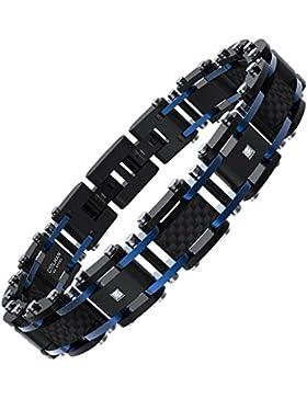 [Gesponsert]COOLMAN Herren Edelstahl Armband Carbon Fiber Armband verstellbares Armband 22,3 cm und Geschenkbox Enthalten...