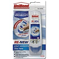 UniBond Re-New Silicone Sealant/White sealer for bathroom, kitchen, sink or shower/Triple protect mould resistance/1 x 100ml