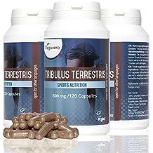 TRIBULUS TERRESTRIS de Vegavero | 120 cápsulas con 95% de saponina | Testosterona – Masa muscular –Energía – Líbido | Suplemento puro natural vegano | Sin gluten | Producido en Alemania