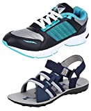 #10: Chevit Men's Combo Pack of 2 Running Shoes With Floater Sandals (Sport Shoes)