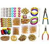 GOELX Silk Thread Jewellery Making Kit, Bangle Size - 2.8 (Pink, Purple, Green, Brown and Yellow, 50P-Jhumka-Kit-19-Items-PPGGBGO-2.8)