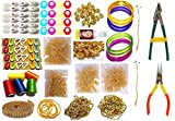 Goelx Silk Thread Jewellery Making Kit,(19 Items), Silk Thread Colours (Red, Blue, Green, Yellow And Orange), Bangle Size - 2.4