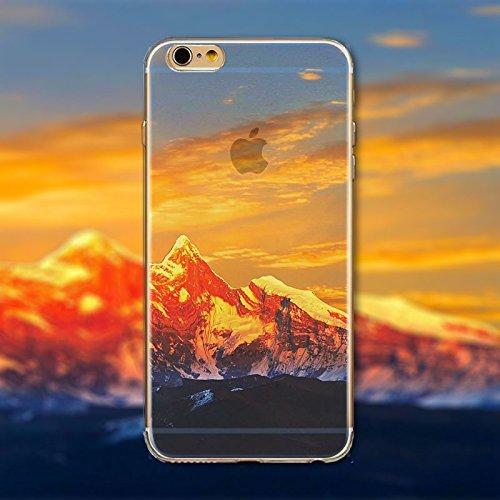 Coque iPhone 5 5s Housse étui-Case Transparent Liquid Crystal en TPU Silicone Clair,Protection Ultra Mince Premium,Coque Prime pour iPhone 5 5s-Paysage-style 5 8
