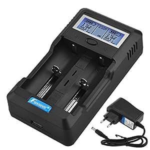 Foxnovo F-2 2-Slot Li-ion Ni-MH Ni-CD Audio Capacity Battery test rapido Intelligent LCD Caricabatteria con l'EU-plug adattatore 12V adattatore da auto per 26650, 22650, 18650, 18500, 18490, 17670, 17650, 17500, 16340, 14500, 10440 Ni-MH e Ni-CD A, AA, AAA, C, SC batterie ricaricabili Nero (2-Slot)