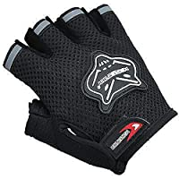 Cloulds_Zone Kids Boys Girls Bike Gloves for Powerlifting, Weight Training, Biking, Cycling - Gym Sports Workout Half Finger Gloves for Ages 6-10 Years Old (Black)