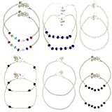 #7: Beadworks Multicolor Metal Strand Anklet(Set Of 6) For Women