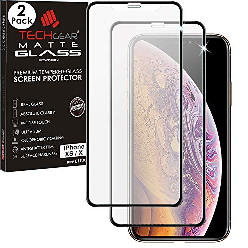 TECHGEAR [2 Stück Matt Panzerglas für iPhone XS, iPhone X - Blendschutz Anti Glare 3D Panzerglas Auflage - Full Screen [Vollbild Abdeckung Glas] Matte Schutzfolie kompatibel mit Apple iPhone XS/X Anti Glare Screen