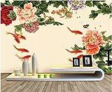 YUANLINGWEI Benutzerdefinierte Fototapete Wandbild Chinesischen Stil Pflanze Blumenmuster Seide Wandbild Geeignet Für Zuhause Wohnzimmer Hintergrund Wand Dekoration,50Cm (H) X 70Cm (W)