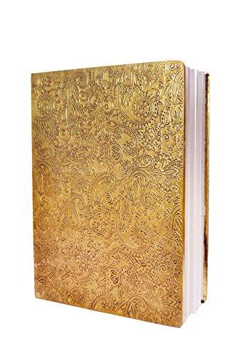 Pinnacle Jkf179, blocco note placcato in ottone, con pelle di Jaal, dimensioni: 20,32 x 15,24 cm, realizzato a mano, 100% carta riciclata