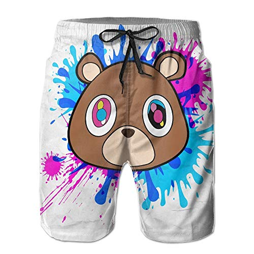 West Beach Pant (cleaer Mary J. Johnson Swim Trunks Kanye West Bear Logo Quick Dry Beach Board Shorts Pants for Men Boys XX-Large)