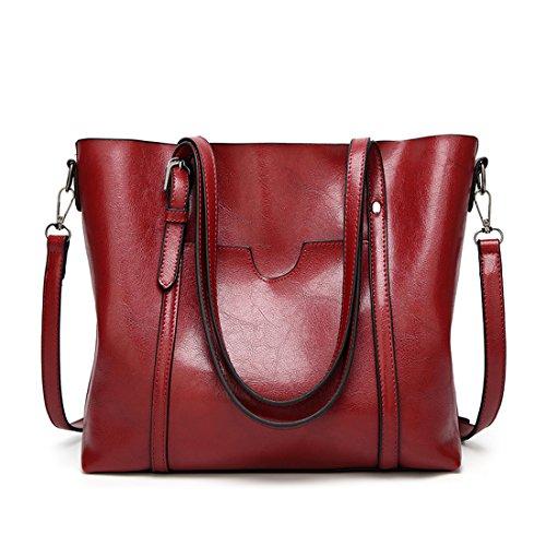 Auspicious beginning Signore maniglia superiore di cuoio puro di colore della borsa della spalla Cross-body Borsa Vino rosso