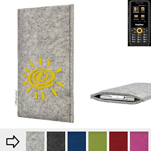 flat.design Handy Hülle für Ruggear RG150 FARO mit Sonne Filz Schutz Tasche Etui Made in Germany fair