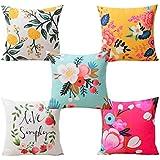 CIDIZY Set of 5 Velvet Floral Multicolor Decorative Designer Digital Print Cushion Covers 16 x 16 inches