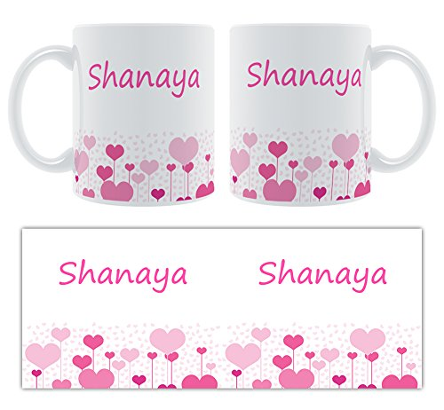 Shanaya – Motif cœurs – Femelle Nom personnalisable Mug en céramique