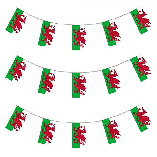 Wales Deko Flagge Banner 10m Lange Nationale Fußball Flaggen Patriotische Walisisch Wimpel Girlanden
