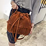 TAKEMORE7 - Bolso Bandolera para Mujer, con Flecos de Ante sintético, con borlas y cordón, Bolso Bandolera, marrón, Tamaño Libre