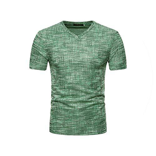 2019 Mode Für Männer Sommer-beiläufige Loch Mit V-Ausschnitt Pullover T-Shirt Spitzenbluse Hoch T, Grün, L