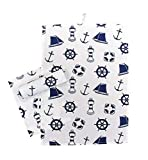 linoows 3 Maritime Geschirrtücher, Küchentücher mit Seefahrtsmotiven, Baumwolle