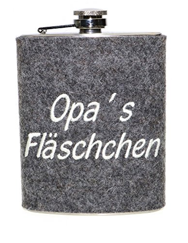 """Edelstahl Flachmann mit Wollfilzhülle """"Opa's Fläschchen"""" – Taschenflachmann in silber für Schnaps, Taschenflasche mit Deckelhalterung 190 ml und 100 % Woll-Filz,ideal als Geschenk, M:ca.13×9,5×2 cm"""