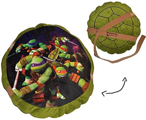 Ninja Turtle Plüsch Kostüm - alles-meine.de GmbH 2 in 1: Kissen 44 cm * 44 cm - Kuschelkissen / Schildkrötenpanzer - Teenage Mutant Ninja Turtles - groß sehr weich / Turtle - Schildkröte - Kinder Schmusekiss..