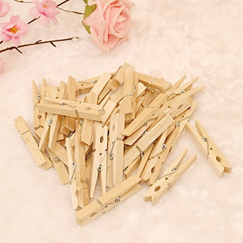 100PCS Natural Wooden Photo Clips, Large Clothespins Craft Pegs with 30 M Jute Twine for Cloth Craft DIY