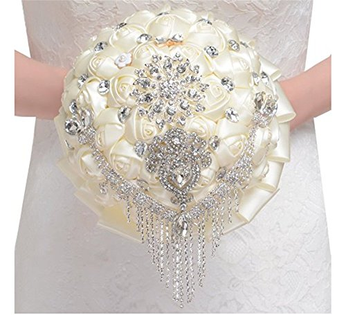 Pavian luxurious Eye-catching crystal wedding flower bouquets rhinestone pearl tassl brooch for bridal ivory