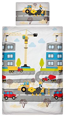 Aminata Kids – Bettwäsche 100x135 cm Kinder Jungen Baustelle LKW Kran Bauarbeiter Baumwolle Reißverschluss Rot Orange Blau Baustellenfahrzeuge Kinderbettwäsche Bettwäscheset Bettbezug Wendebettwäsche