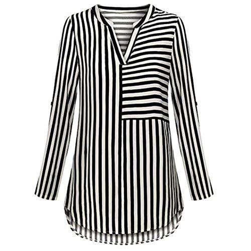 Jiameng bluse e camicie da donna - moda casual v colletto manica lunga camicetta a maniche lunghe chiffon camicetta split scollo a v manica polsini a strisce camicia cime(l,nero)